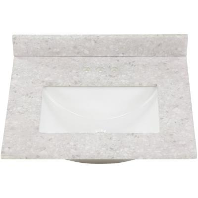 25 in. W x 22 in. D Stone Effect Vanity Top in River Stone with White Sink