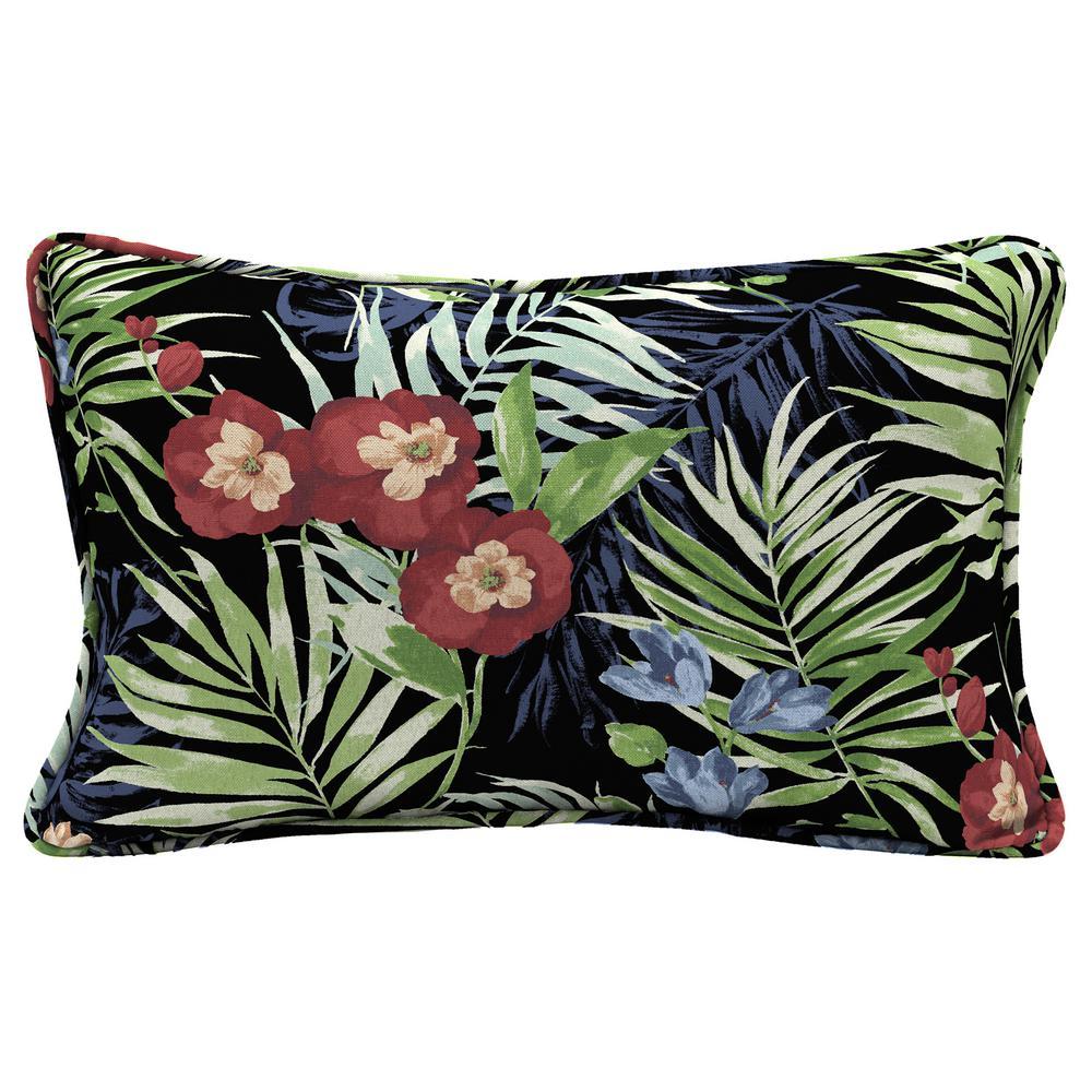 Hampton Bay Black Tropical Lumbar Outdoor Throw Pillow
