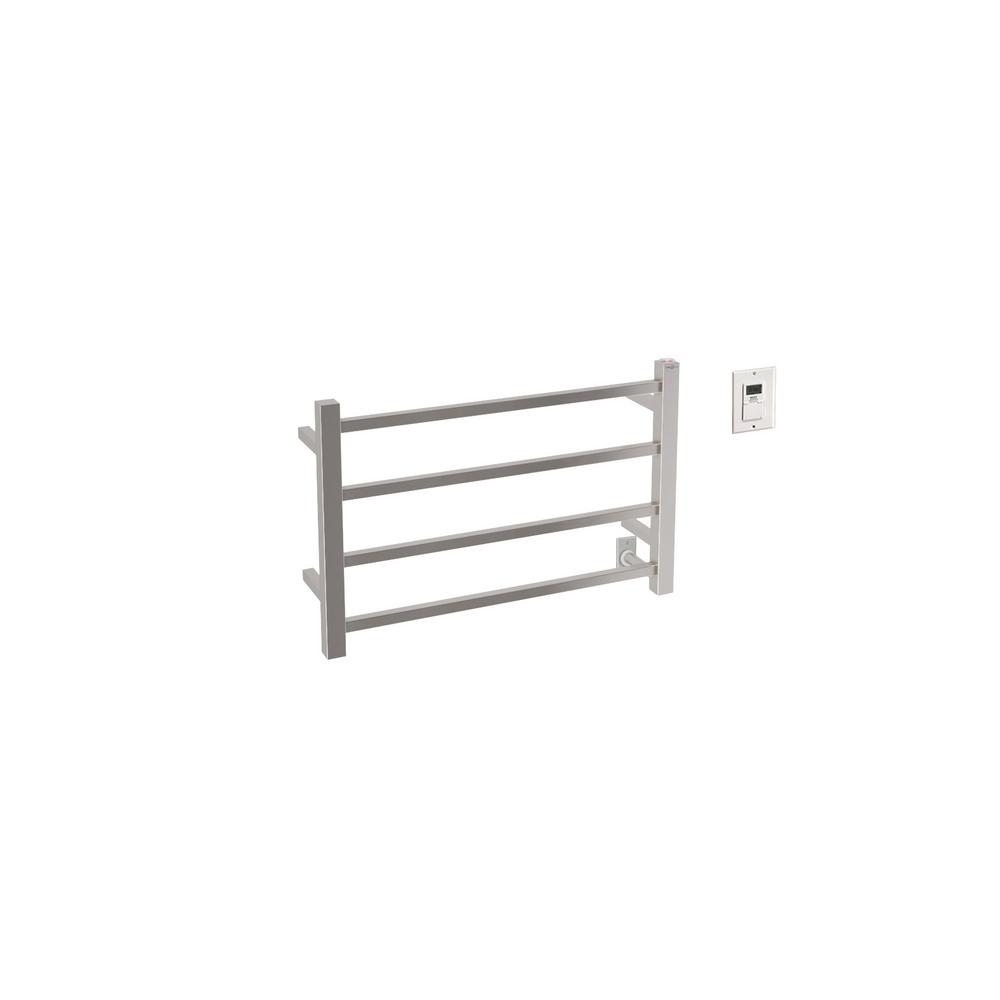 Gala Dual 4 Bar Hardwired And Plug In Towel Warmer In Brushed Stainless  Steel With Timer