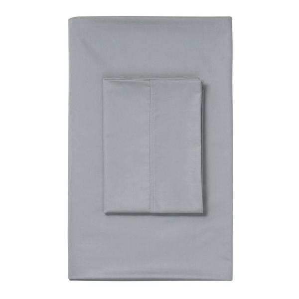 The Company Store Silver Solid 450 Thread Count Wrinkle-Free Sateen Twin Fitted Sheet