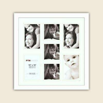 7-Opening Holds (4) 4 in. x 6 in. and (3) 4 in. x 4 in. Matted White Photo Collage Frame (Set of 2)