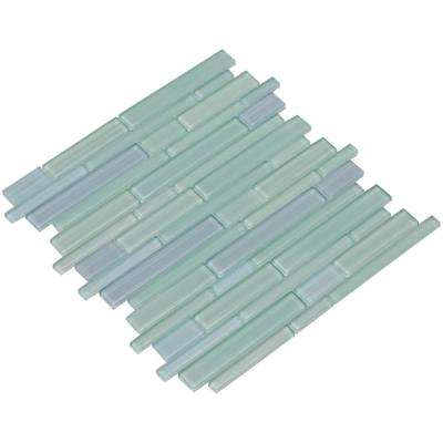 Mahi/03, Sky Blue and Green, Interlocking, 3 in. x 12 in. x 8 mm Glass Mesh-Mounted Mosaic Tile Sample