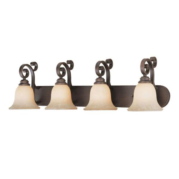 4-Light Rubbed Bronze Vanity Light with Turinian Scavo Glass