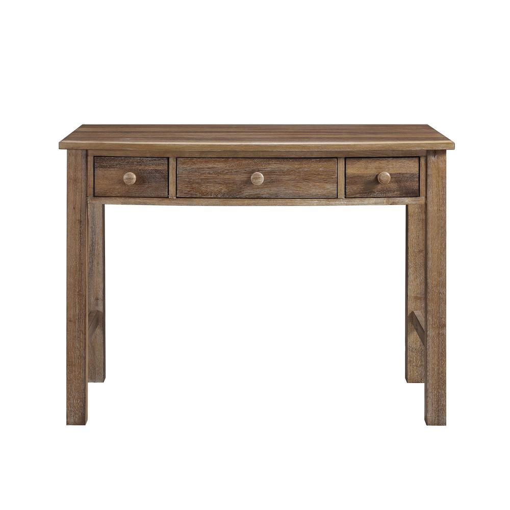 Dorel Living Brookline Natural Rustic 3 Drawer Desk