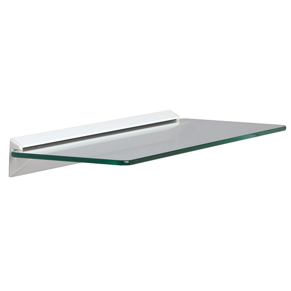 Knape & Vogt 18 in. W x 6 in. D Wall Mounted White Glass Decorative Shelf Kit