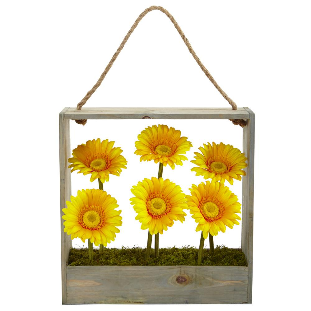 Nearly Natural Indoor Gerber Daisy Silk Garden In Wall Hanging Frame