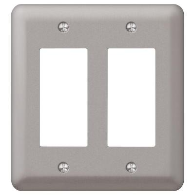 Declan 2 Gang Rocker Steel Wall Plate - Pewter