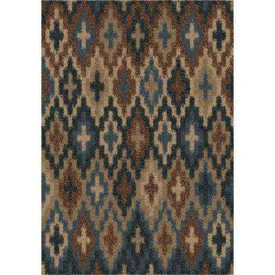 Blue Spell Blue Abstract Shag 5 ft. x 8 ft. Indoor Area Rug