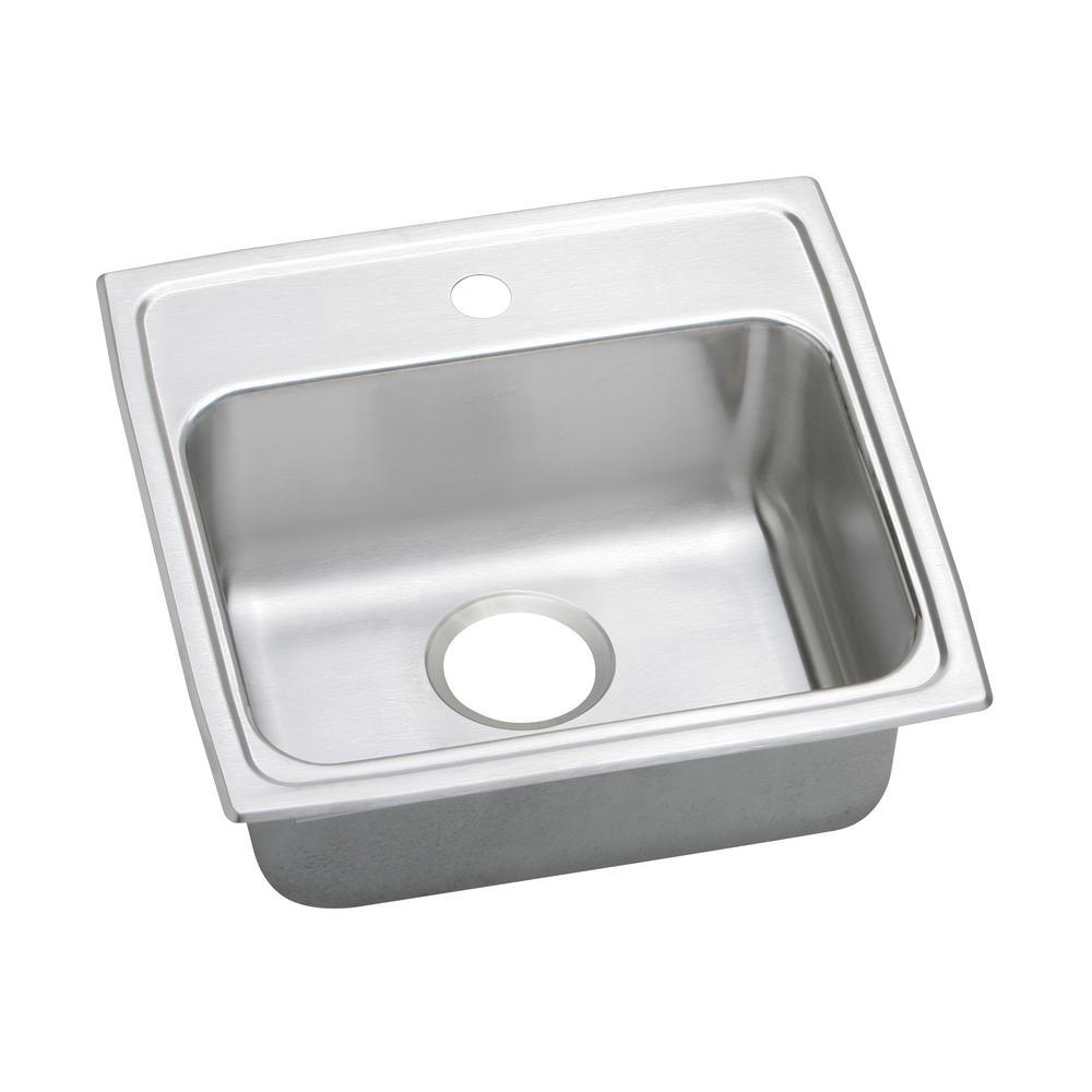 Elkay lustertone drop in stainless steel 20 in 1 hole single bowl kitchen sink lrad1919651 - Kitchen sink home depot ...