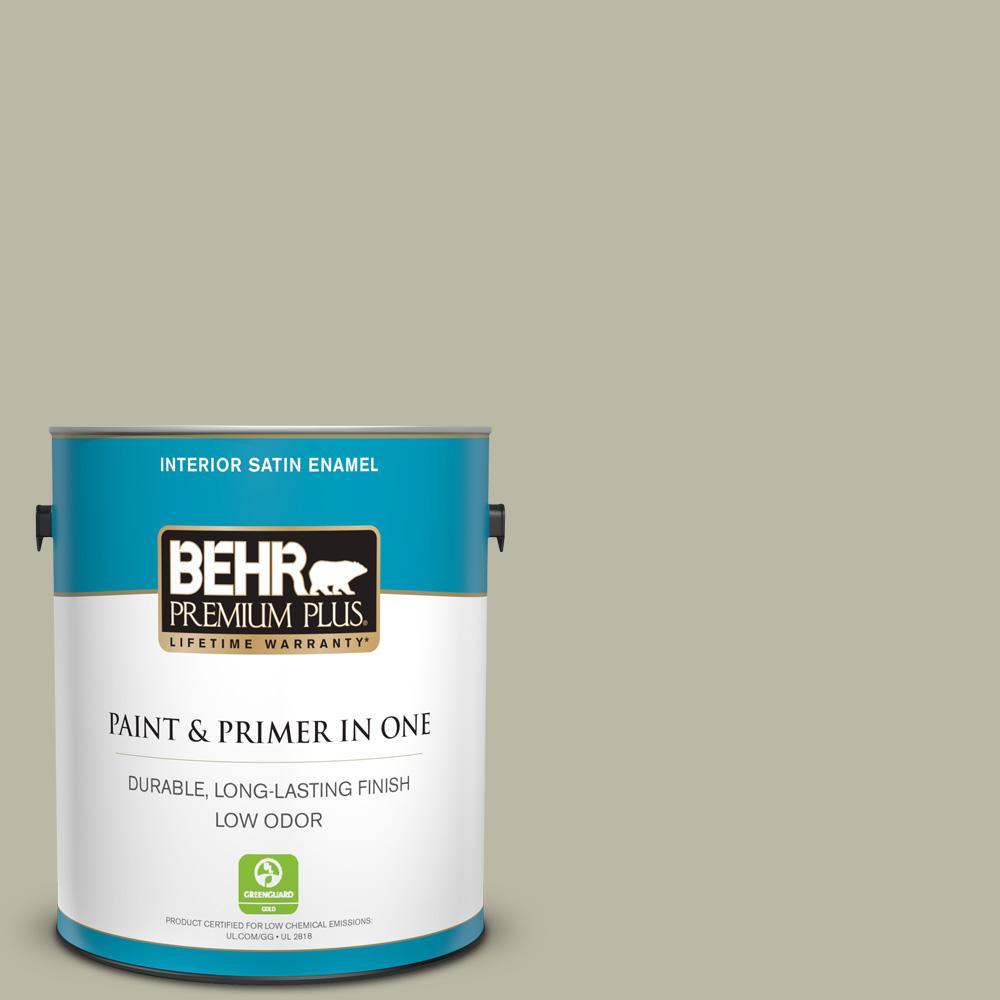 BEHR Premium Plus 1 gal. #400F-4 Restful Satin Enamel Low Odor Interior Paint and Primer in One