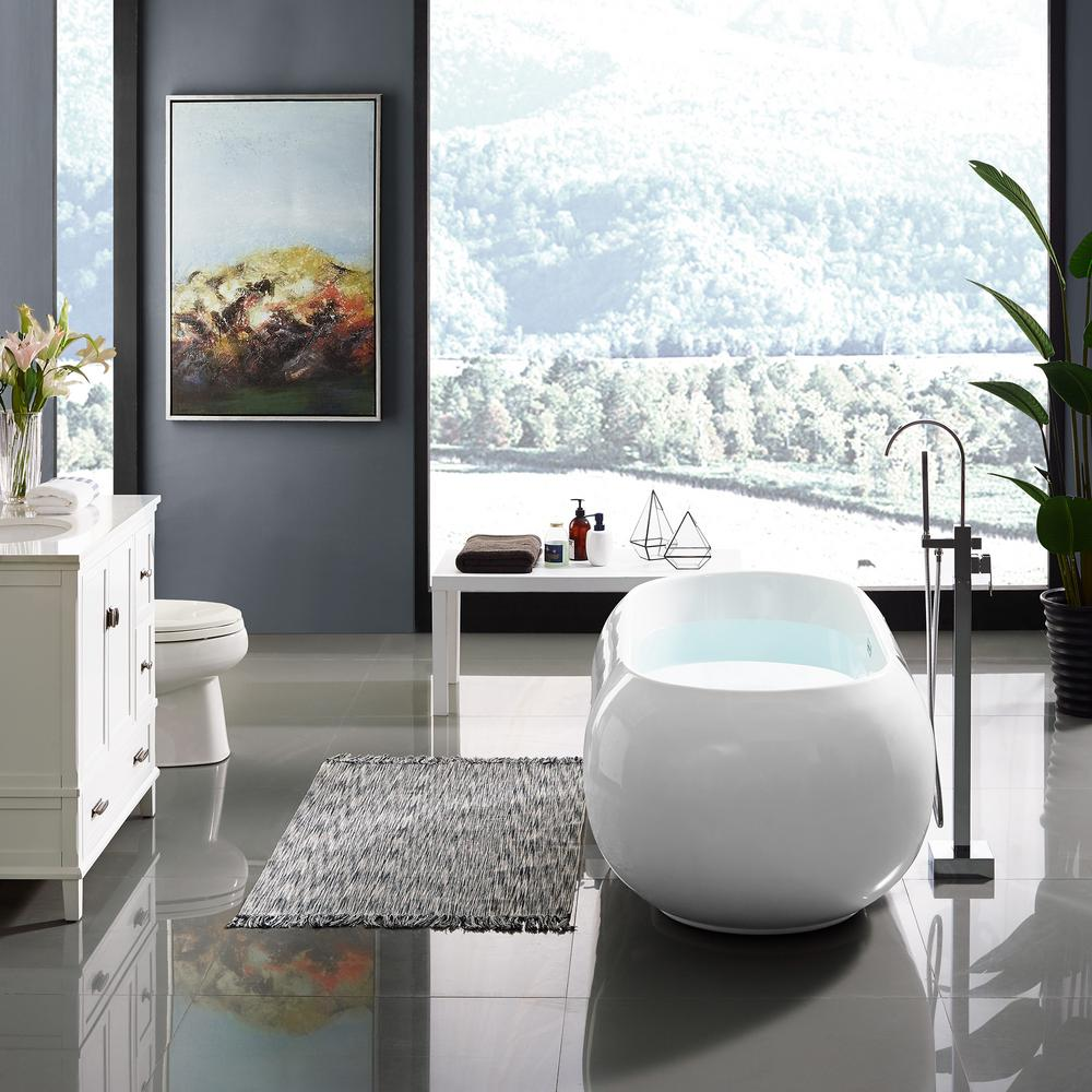 Plaisir 63 in. Acrylic Freestanding Flatbottom Non-Whirlpool Soaking Bathtub in
