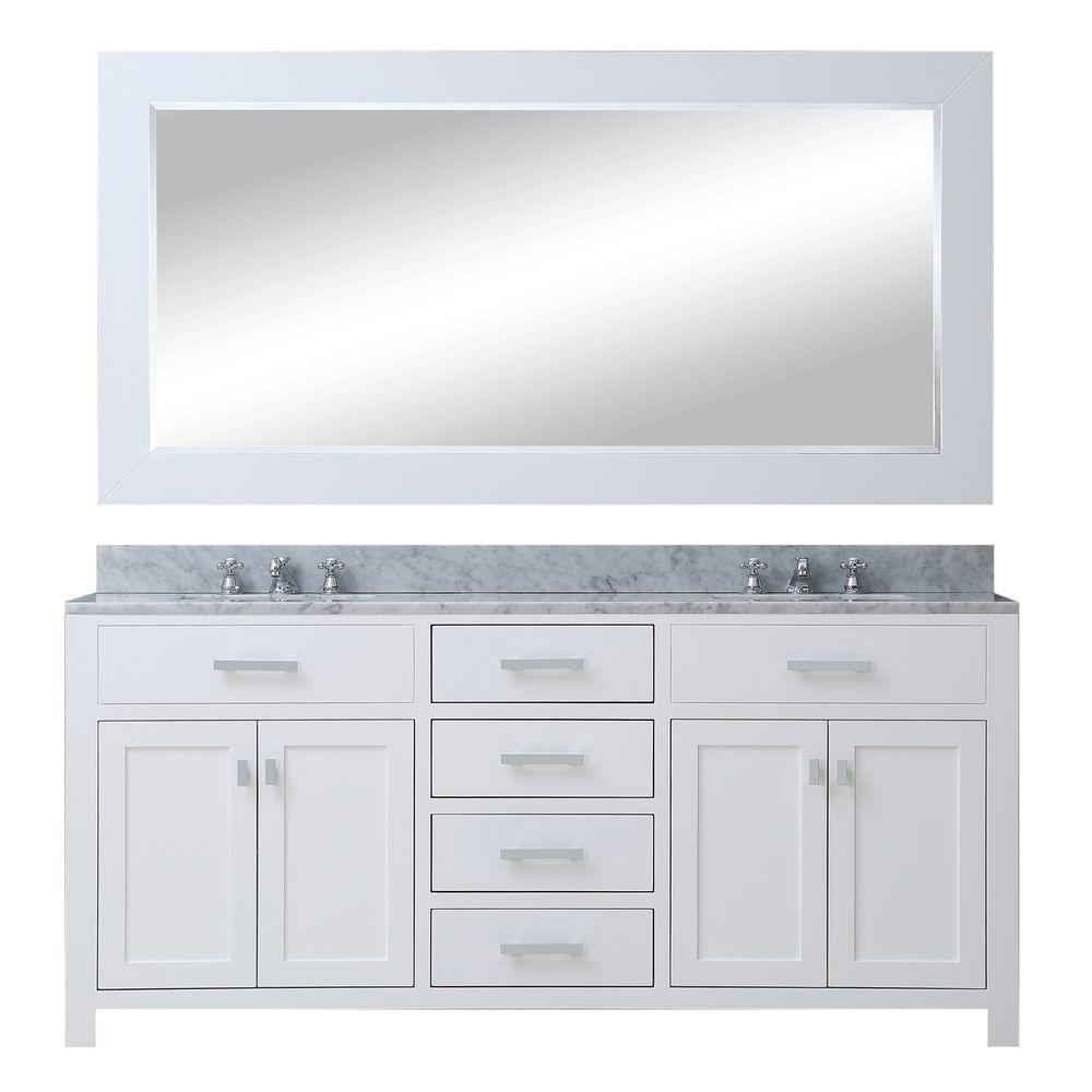 Water Creation 72 in. W x 21 in. D Vanity in White with Marble Vanity Top in Carrara White, Mirror and Chrome Faucets
