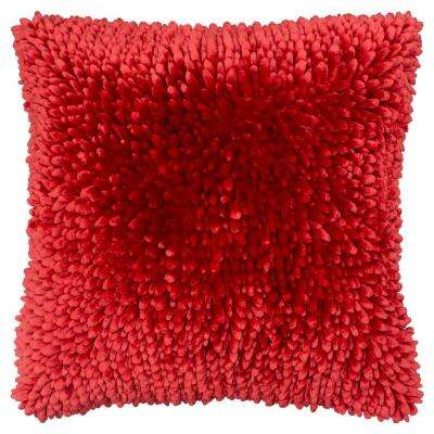 Butter Chenille 18 in. x 18 in. Red Decorative Pillow