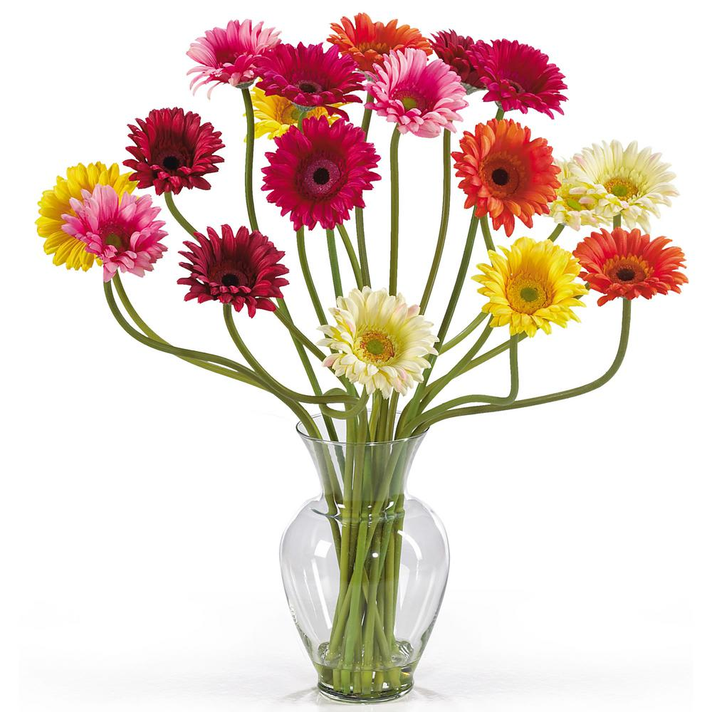 Nearly Natural 21 in. Gerber Daisy Liquid Illusion Silk Flower Arrangement Mixed Colors Take a look at this Gerber Daisy silk arrangement. Fun, excitement, and color only begin to describe its beauty. Standing 21 in. tall this exciting piece features eighteen stems of Gerber Daisy's set in a classic glass vase with artificial water. If you're looking to brighten up your home or office decor, well. You've just found a winner. Available in five gorgeous shades: beauty, orange, pink, red, yellow and mixed.