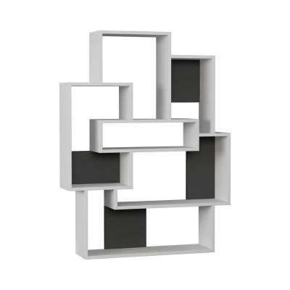 Bernard White and Anthracite Mid-Century Modern Bookcase