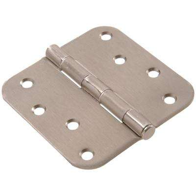 4 in. Satin Nickel Residential Door Hinge with 5/8 in. Round Corner Removable Pin Full Mortise (9-Pack)