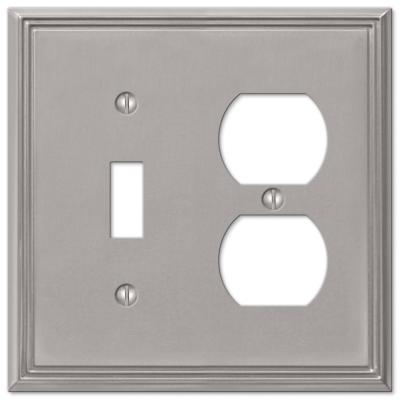 Rhodes 2 Gang 1-Toggle and 1-Duplex Metal Wall Plate - Brushed Nickel