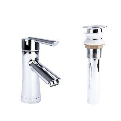 Hour Glass Single Hole Single-Handle Bathroom Faucet with Drain in Chrome