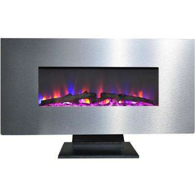 42 in. Electric Fireplace with Multi-Color Log Display and Metallic Stainless Steel Frame