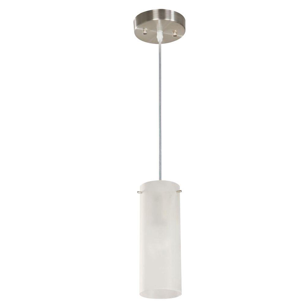 Hampton Bay 1 Light Satin Nickel Mini Pendant With Frosted