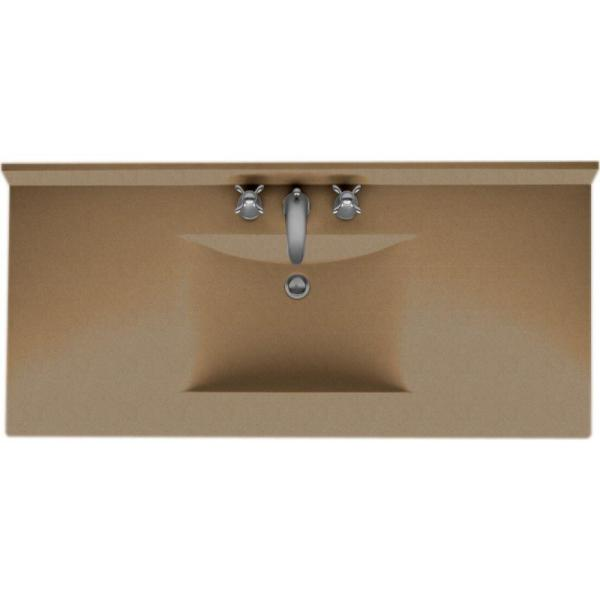 Contour 43 in. Solid Surface Vanity Top in Barley with Barley Basin