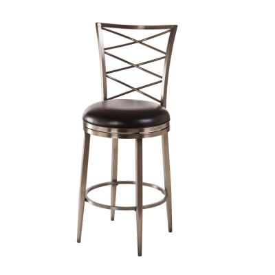 Harlow 26 in. Swivel Cushioned Counter Stool in Antique Pewter