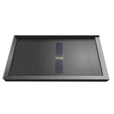 34 in. x 60 in. Double Threshold Shower Base with Center Drain and Solid Brushed Nickel Trench Grate