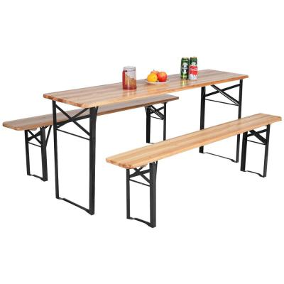 3-Pieces Wooden Picnic Folding Table Bench Set