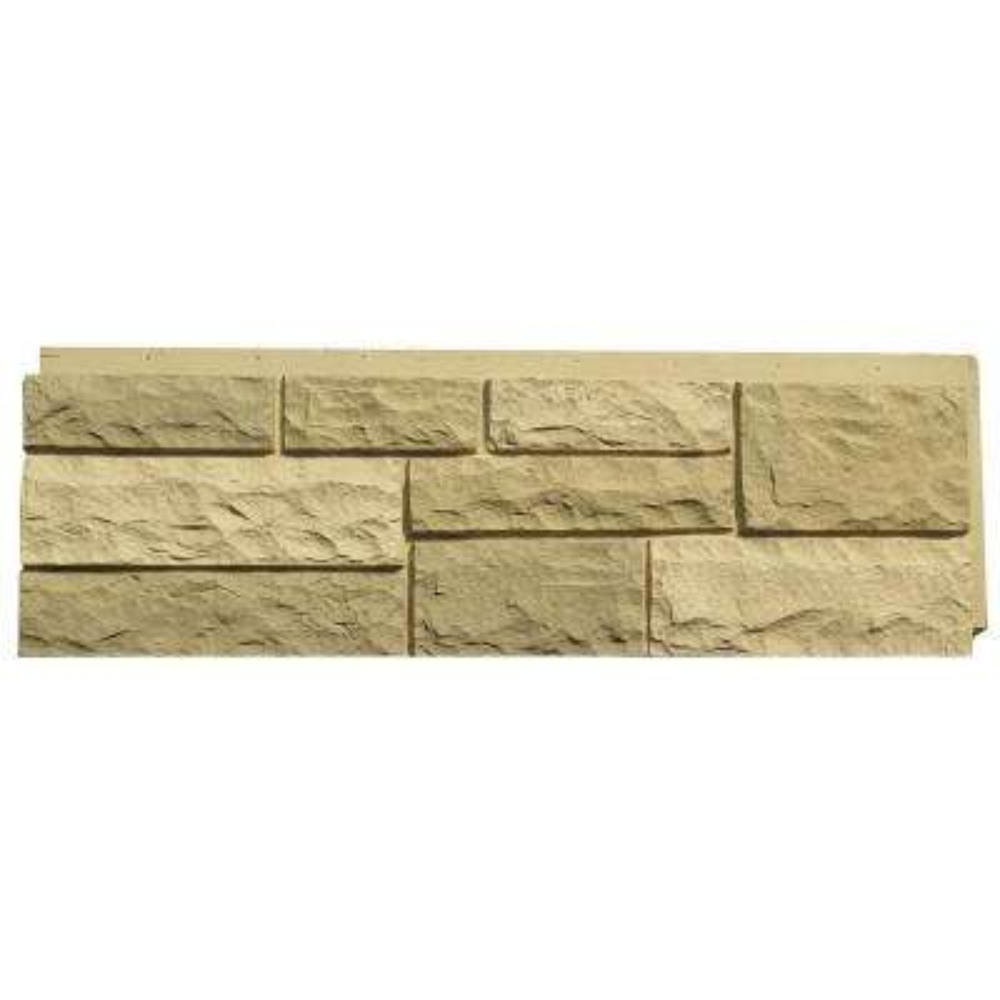 Random Rock Desert Buff 15.5 in. x 48 in. Faux Stone Siding Panel (4-Pack)