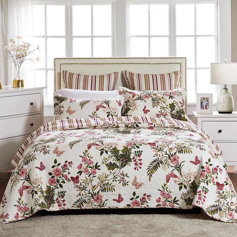 Butterflies 3-Piece Multicolored Queen Quilt Set