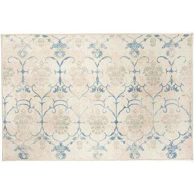 Washable Leyla Creme Vintage 3 ft. x 5 ft. Stain Resistant Accent Rug