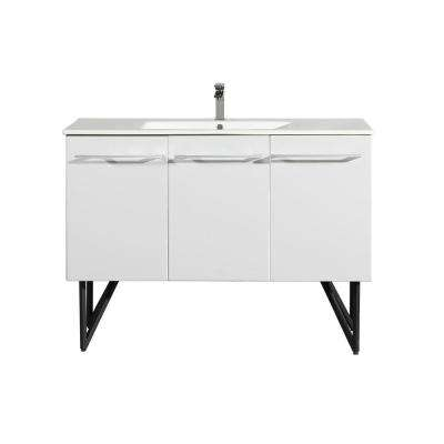 Annecy 48 in. Single, 2-Door, 1 Drawer Bathroom Vanity in White with White Basin