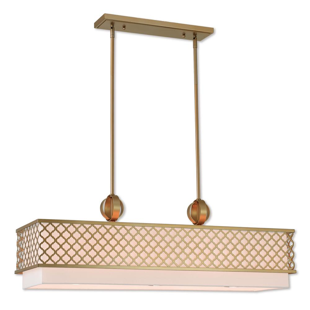 Livex Lighting Arabesque 9-Light Soft Gold Linear Chandelier with Hand Crafted Off White Outside and White Inside Hardback Shade