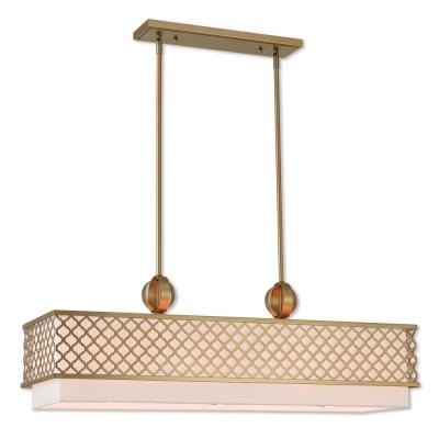 Arabesque 9-Light Soft Gold Linear Chandelier with Hand Crafted Off White Outside and White Inside Hardback Shade