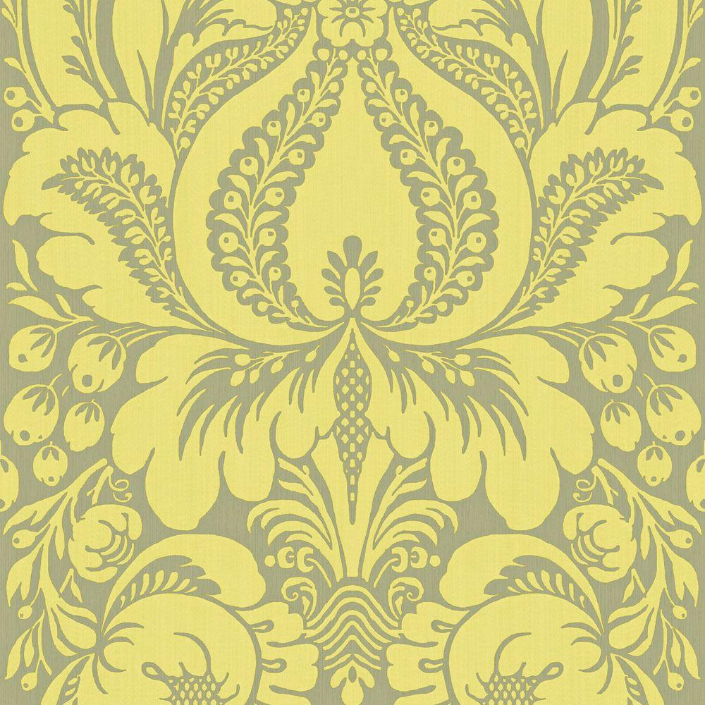 The Wallpaper Company 8 in. x 10 in. Lime Large Scale Damask Wallpaper Sample