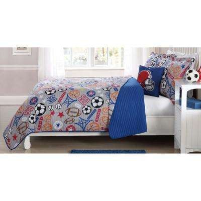 Sports Express Circles Blue Queen Quilt Mini Set with Bonus Decorative Pillow