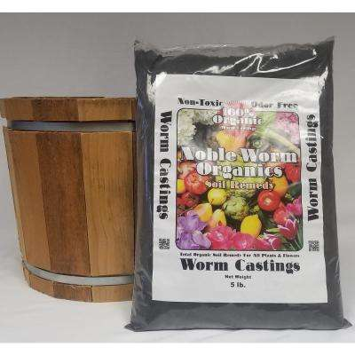 15 in. Dia Western Red Cedar Barrel Planter with a 5 lb. Bag of Noble Worm Organic Worm Castings
