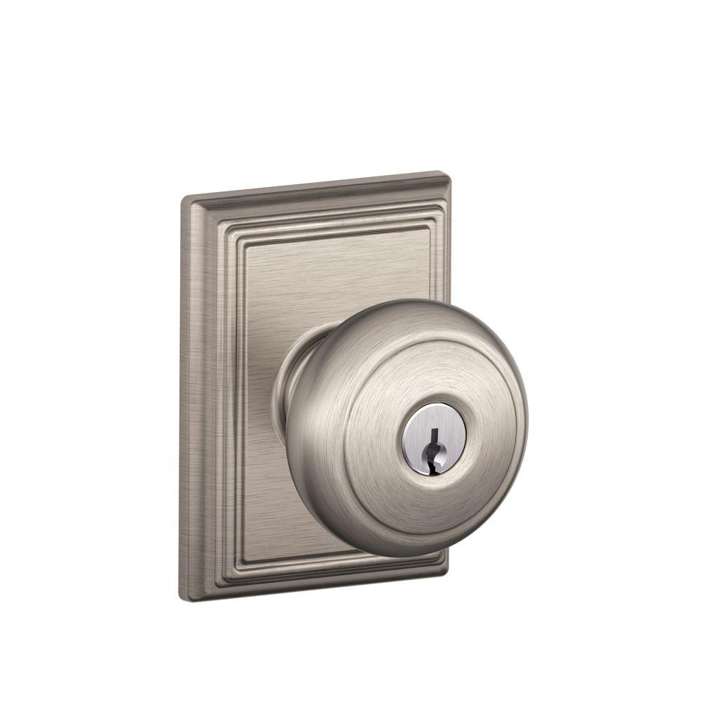 Addison Collection Satin Nickel Andover Keyed Entry Knob