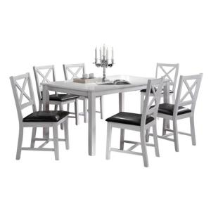Indoor White and Black Cross-Back 7-Piece Dining Set Solid Wood Rectangular  Dining Table
