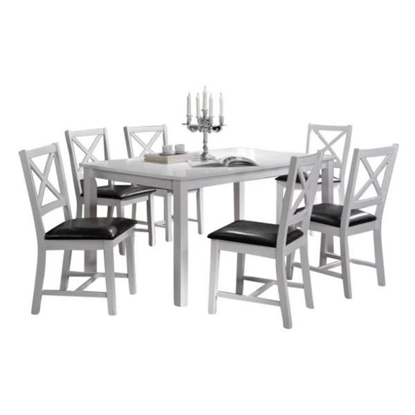 Oakland Living Indoor White And Black Cross Back 7 Piece Dining