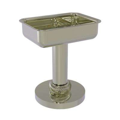 Vanity Top Soap Dish with Twisted Accents in Polished Nickel