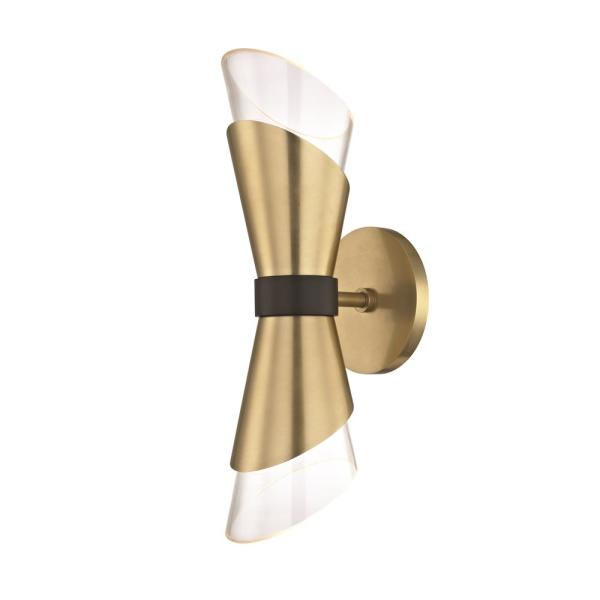 Angie 2-Light Aged Brass 15 in. H LED Wall Sconce
