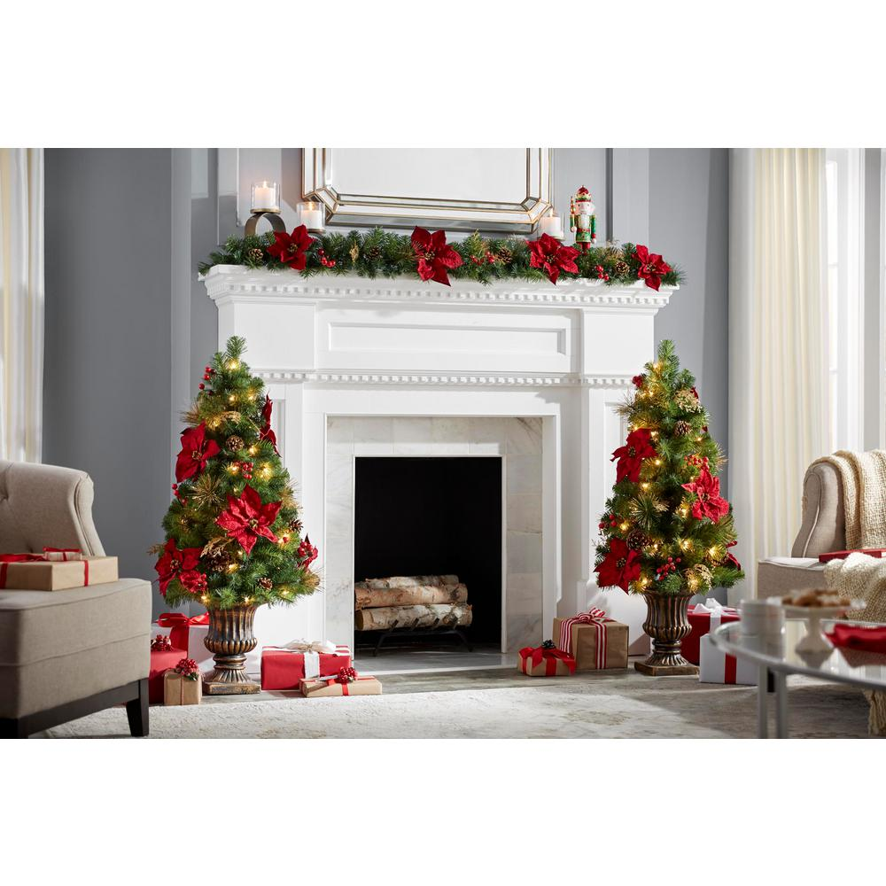 Home Accents Holiday 6 Ft Gold Glitter Cedar And Mixed Pine Garland With Burgundy Poinsettias