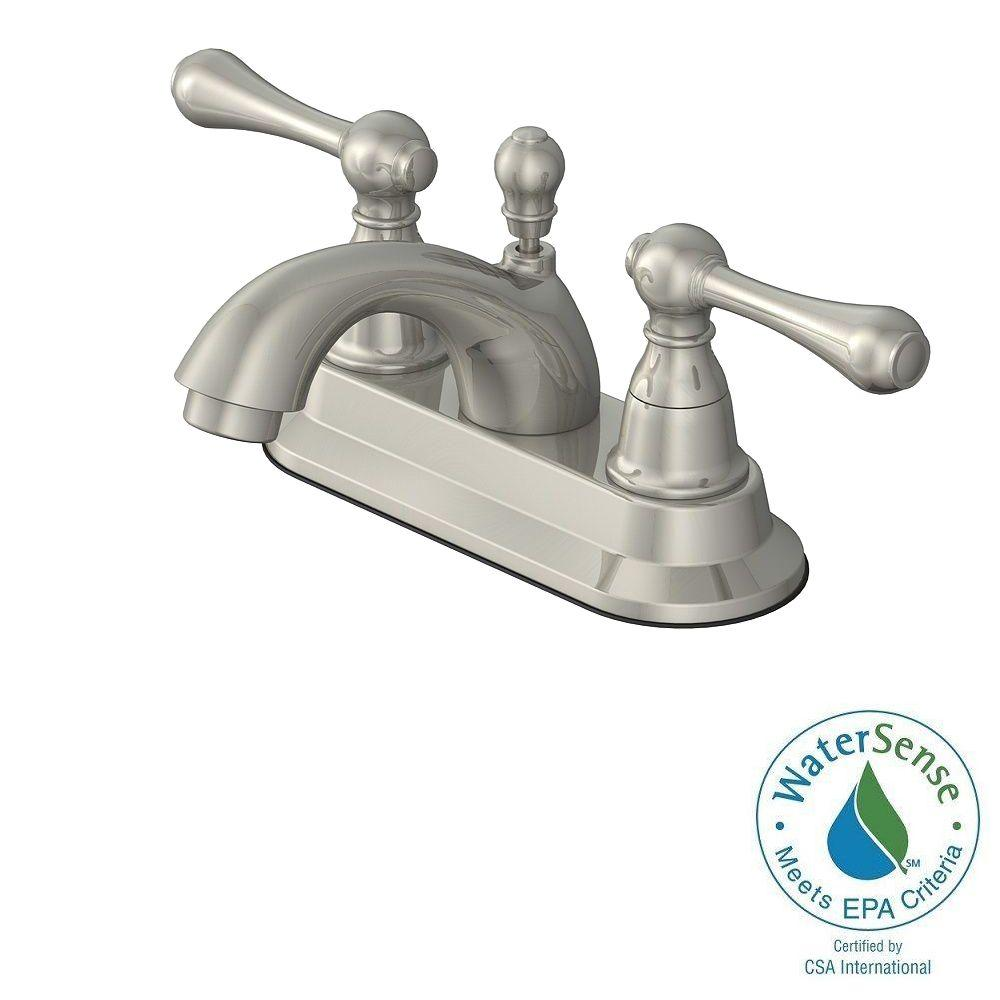 Centerset 2 Handle Bathroom Faucet In Brushed Nickel With