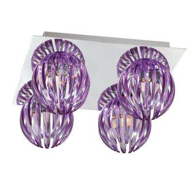 Cosmo Collection 4-Light Chrome and Purple Flushmount