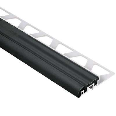 Trep-S Aluminum with Black Insert 3/8 in. x 8 ft. 2-1/2 in. Metal Stair Nose Tile Edging Trim