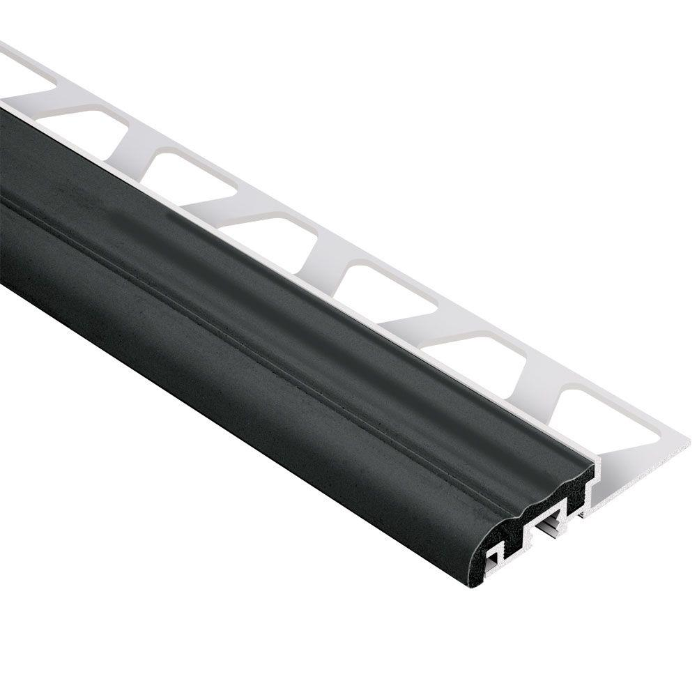 Schluter Trep-S Aluminum with Black Insert 5/16 in. x 4 ft. 11 in. Metal Stair Nose Tile Edging Trim