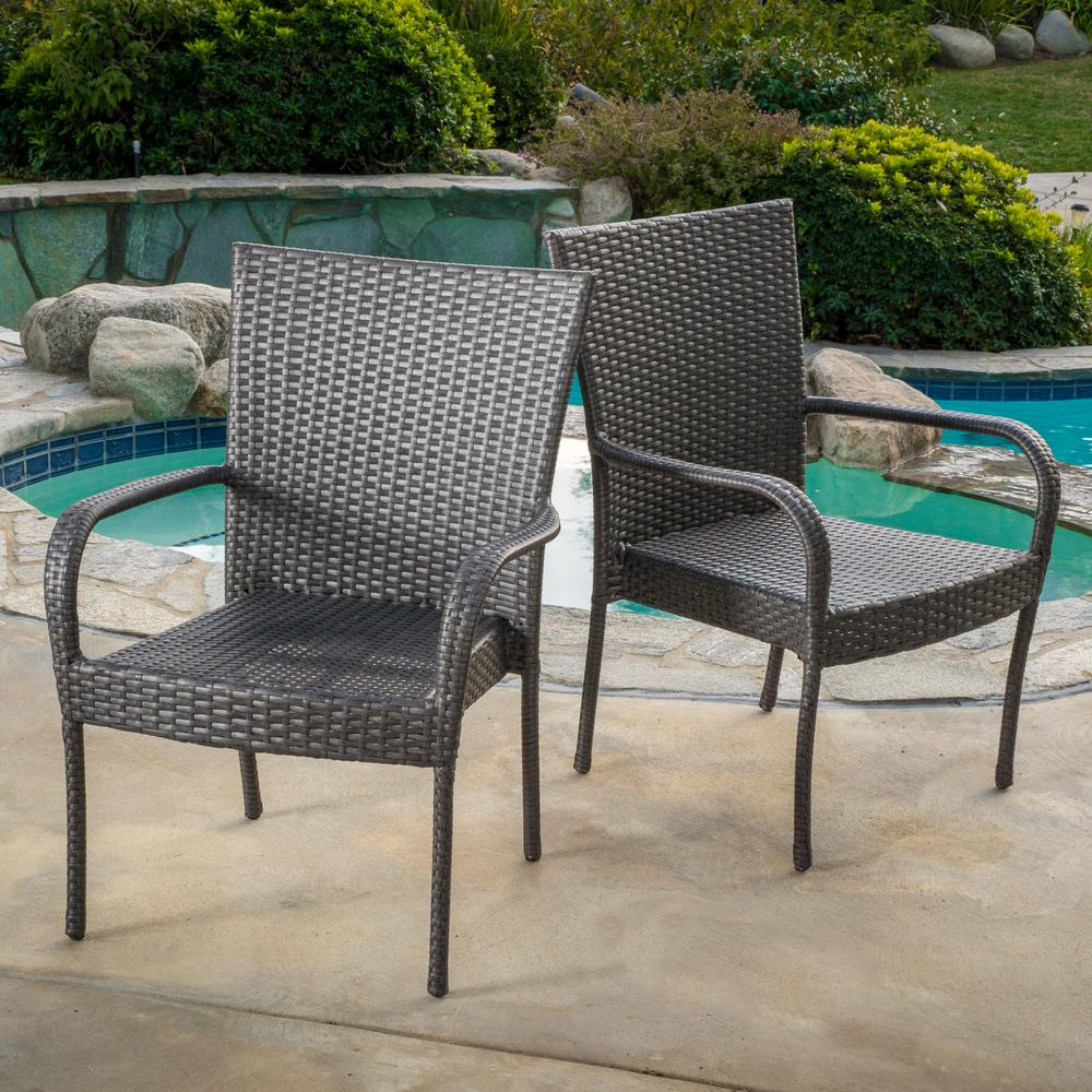 Noble House Gray Stackable Wicker Outdoor Dining Chair (Set of 2)
