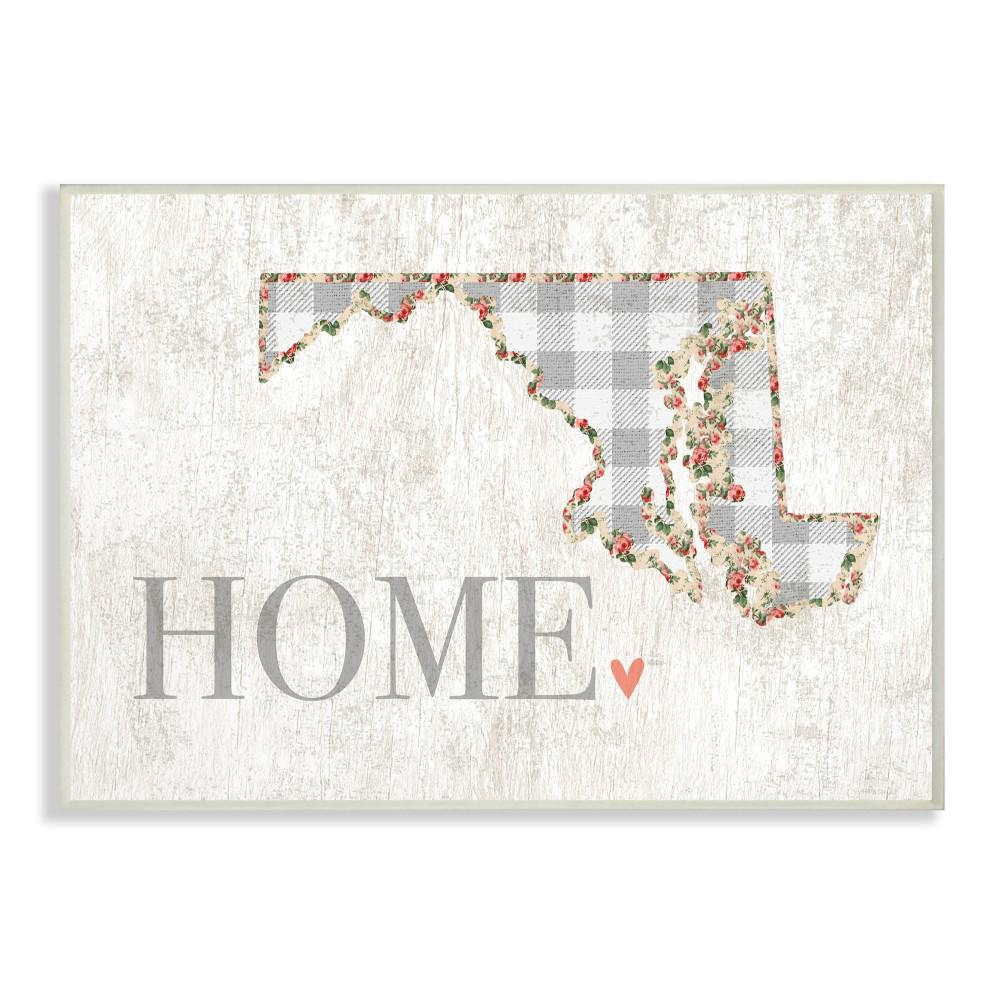 "10 in. x 15 in. ""Maryland Grey Gingham and Floral Heart"