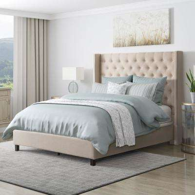 Fairfield Beige Tufted Fabric Queen Bed with Wings